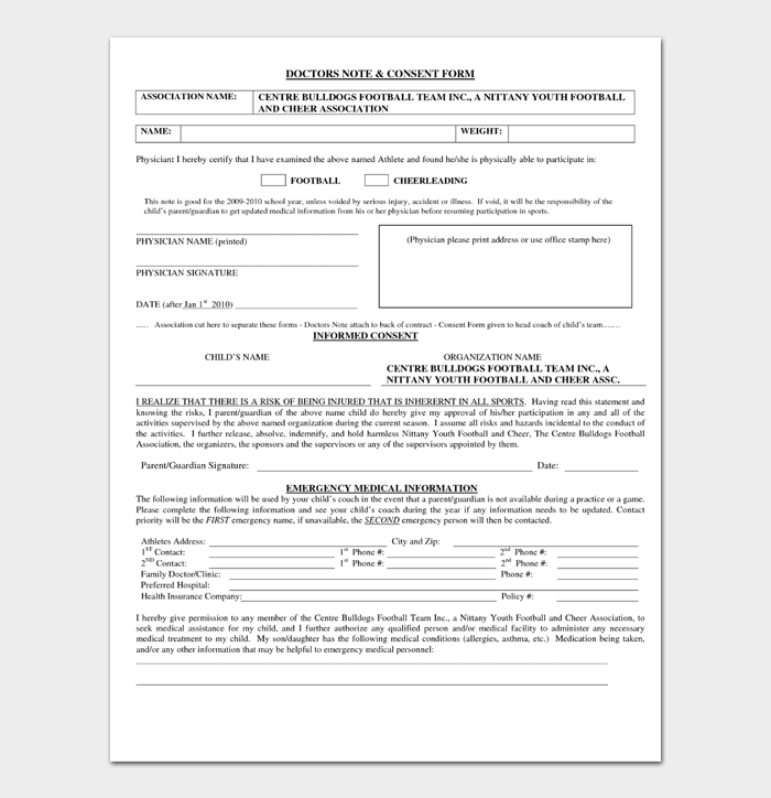 Doctor's Notes and Consent Form