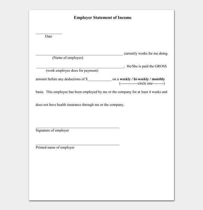 Employer Statement of Income