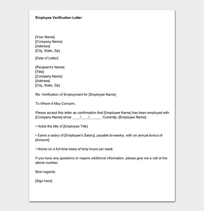 Employment Verification Letter #04