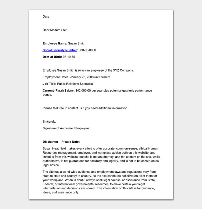 Employment Verification Letter #08