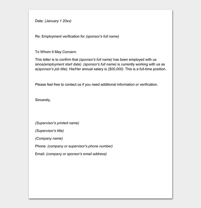 Employment Verification Letter #10