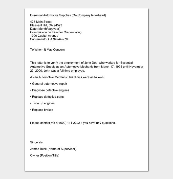 Employment Verification Letter #11