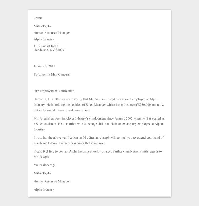 Employment Verification Letter #12