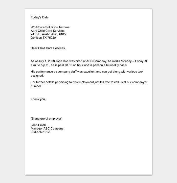 Employment Verification Letter #13