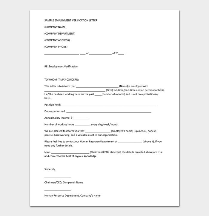 Employment Verification Letter #14