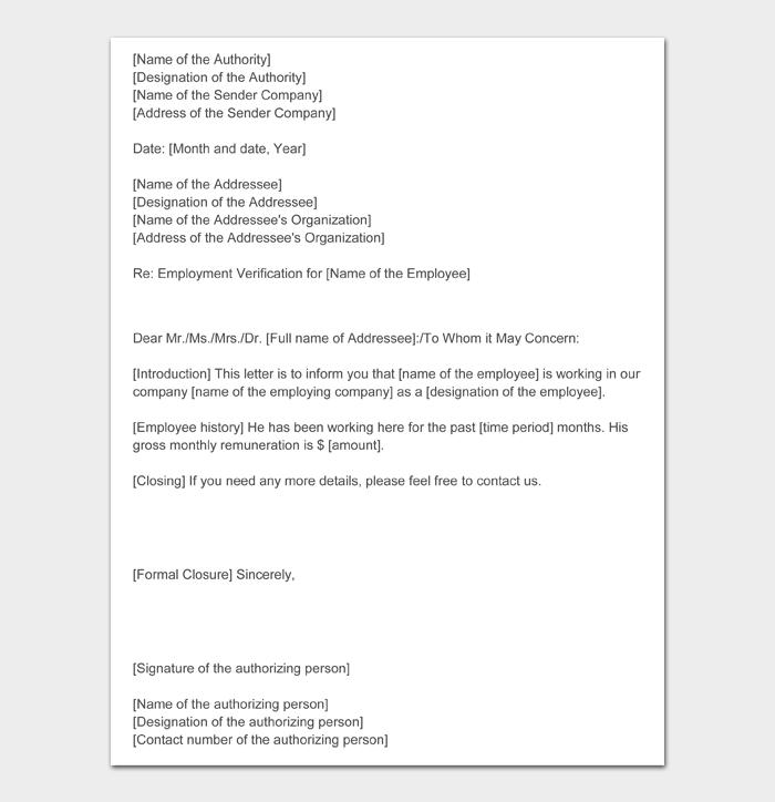 Employment Verification Letter #22