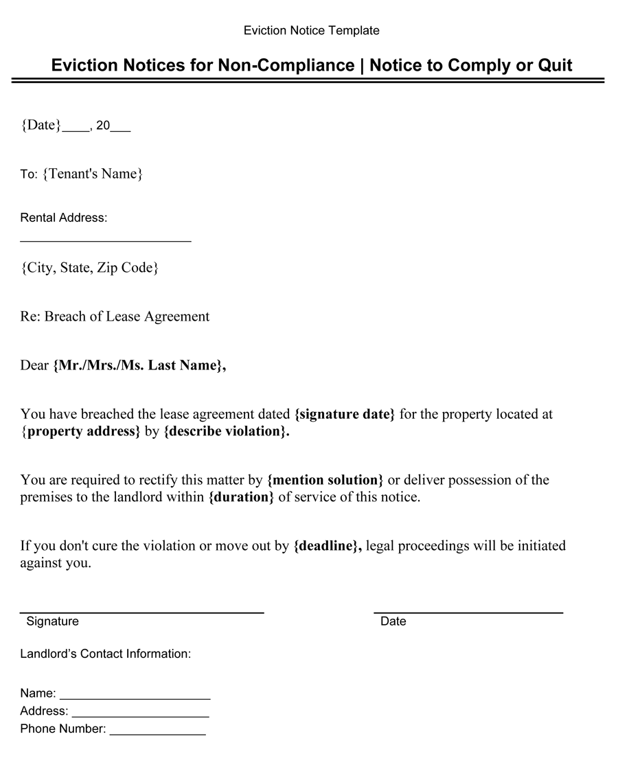 Eviction Notices for Non-Compliance  (Notice to Comply or Quit)  - Eviction Notice Template