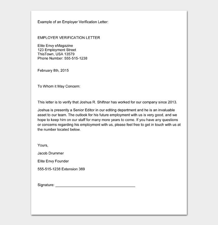 Example of an Employer Verification Letter