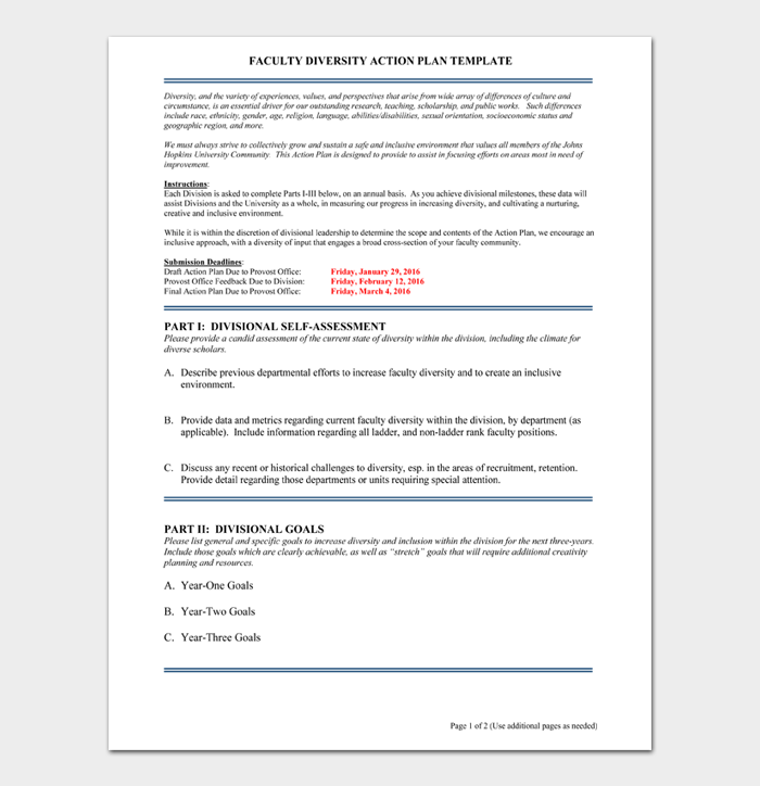 FACULTY DIVERSITY ACTION PLAN TEMPLATE