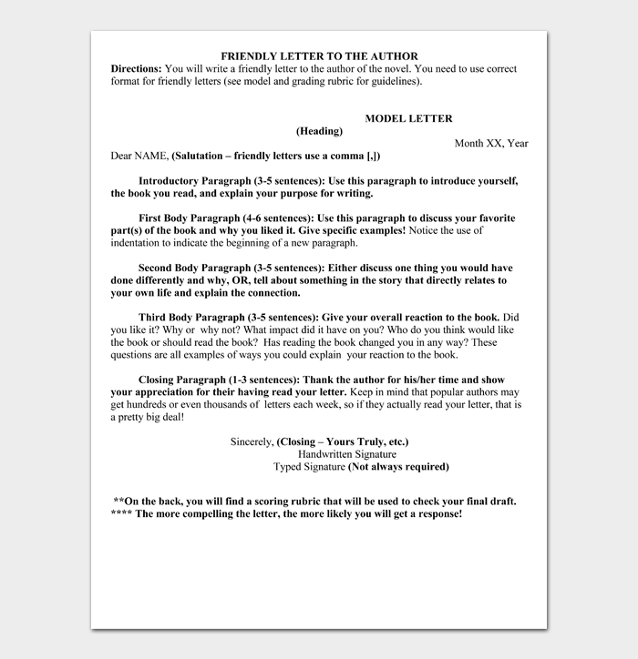 Friendly Letter Format To Author