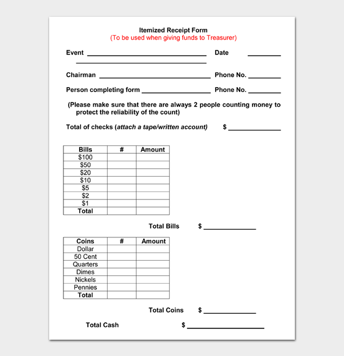 Itemized Receipt Form
