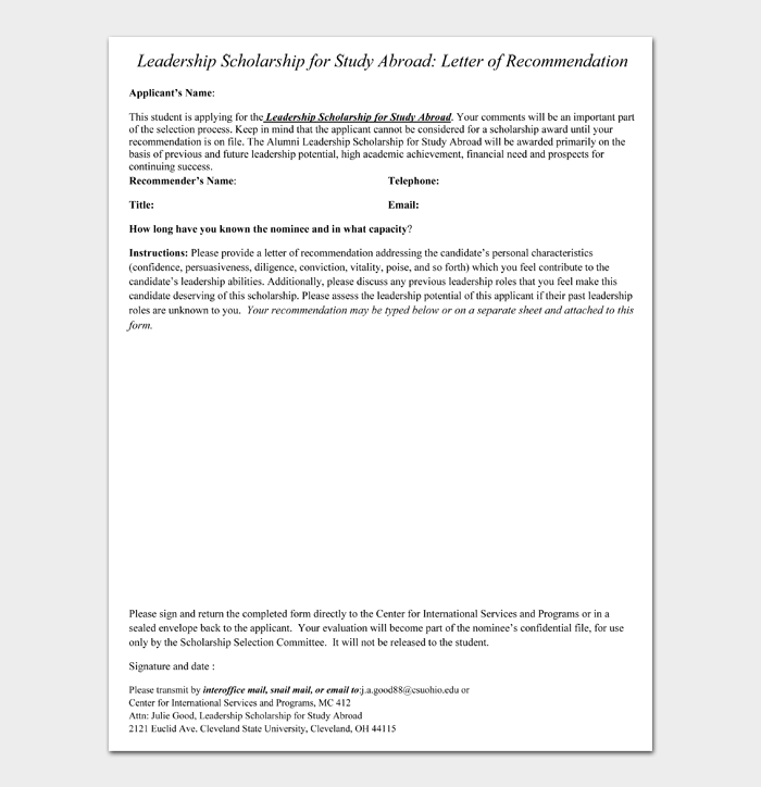 Leadership Scholarship for Study Abroad