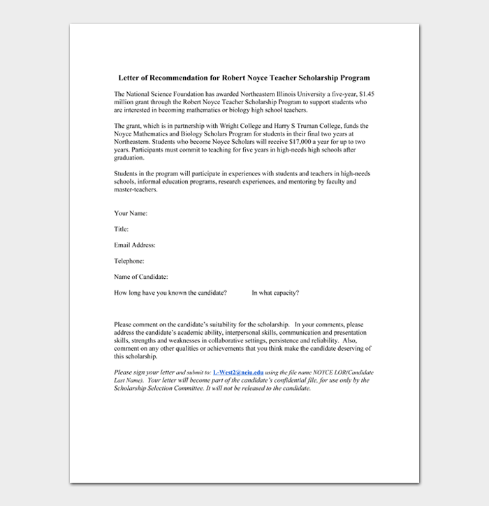 Letter of Recommendation for Robert Noyce Teacher Scholarship Program