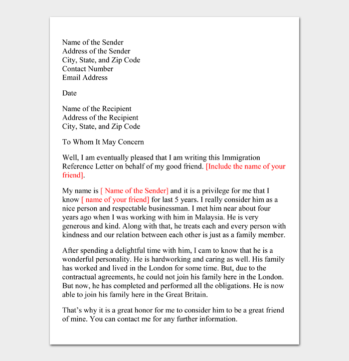 Letter of Support for Immigration #01