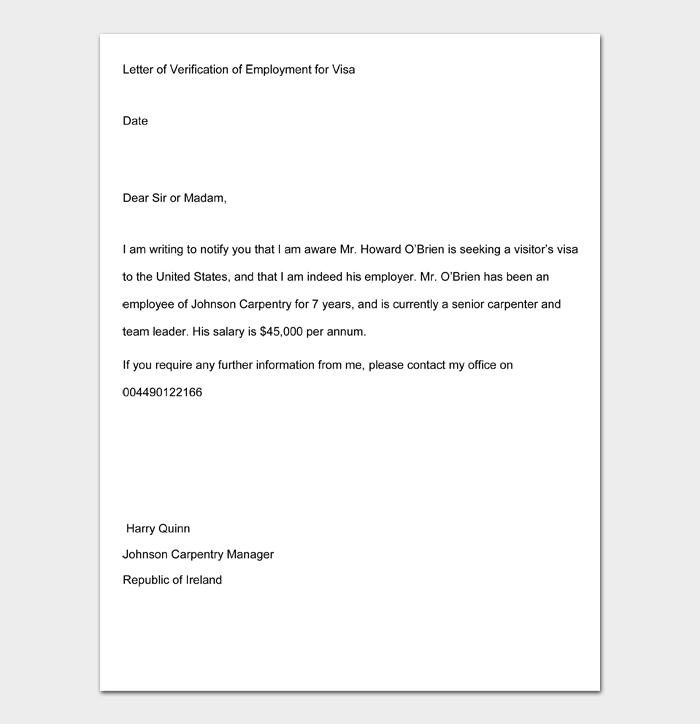 Letter of Verification of Employment for Visa
