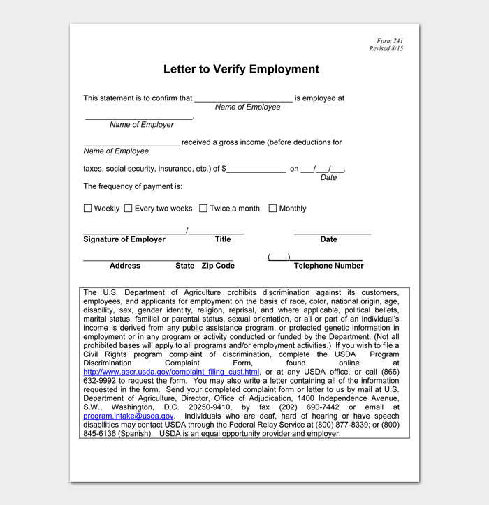Letter to Verify Employment