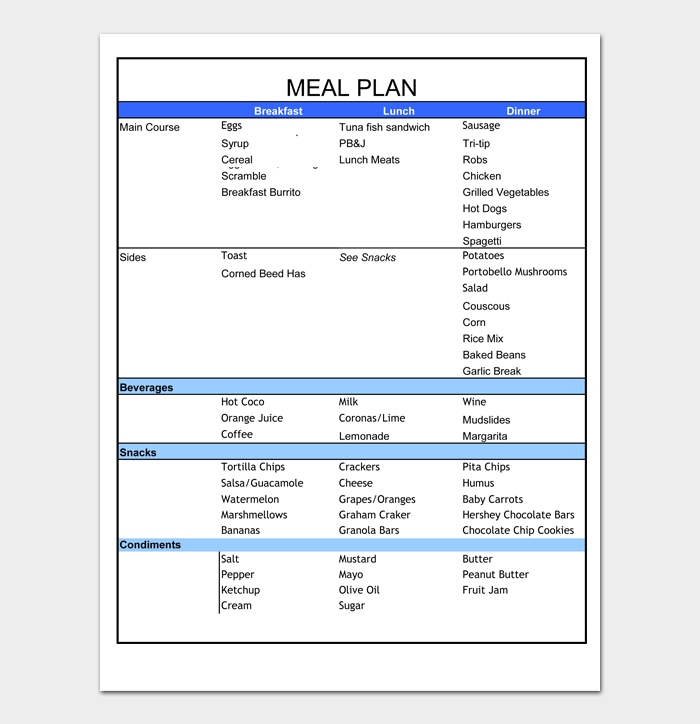 Meal Plan Templates #05