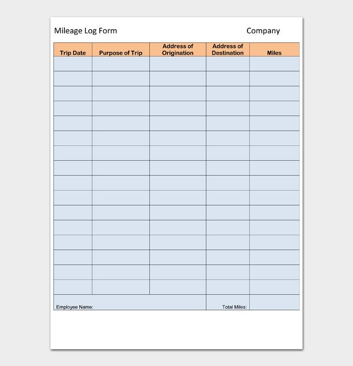 Mileage Log Form