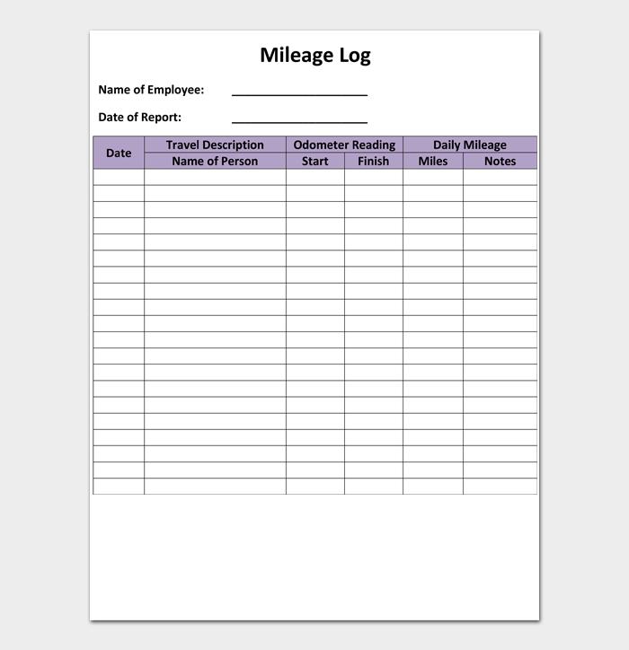 Mileage Log Templates #02
