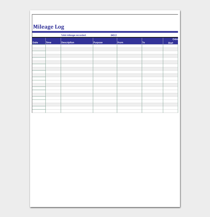 Mileage Log Templates #07