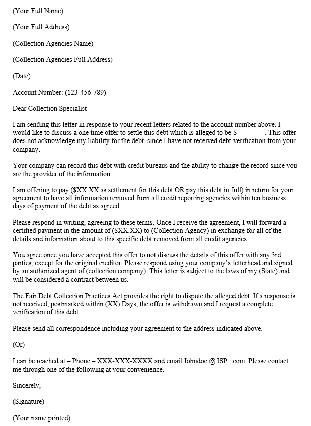 Pay for Delete Letter