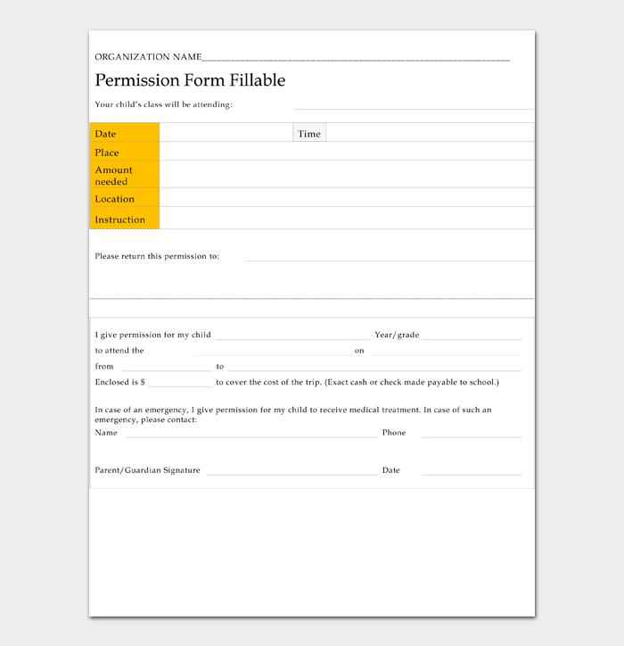 Permission Form Fillable