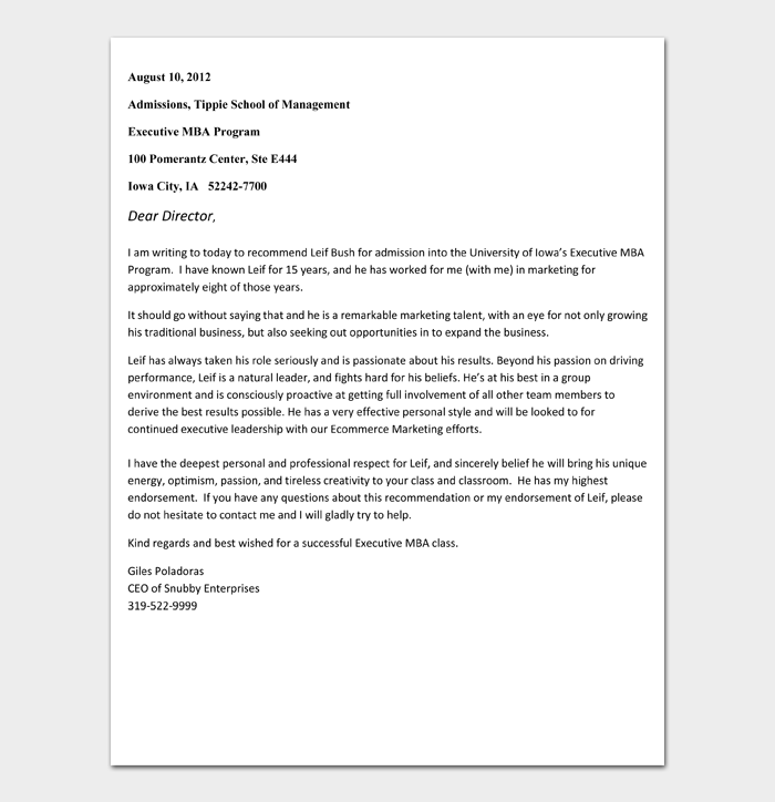 Recommendation Letter for Scholarship Template #03
