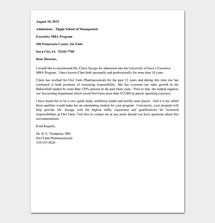 Recommendation Letter for Scholarship Template #04