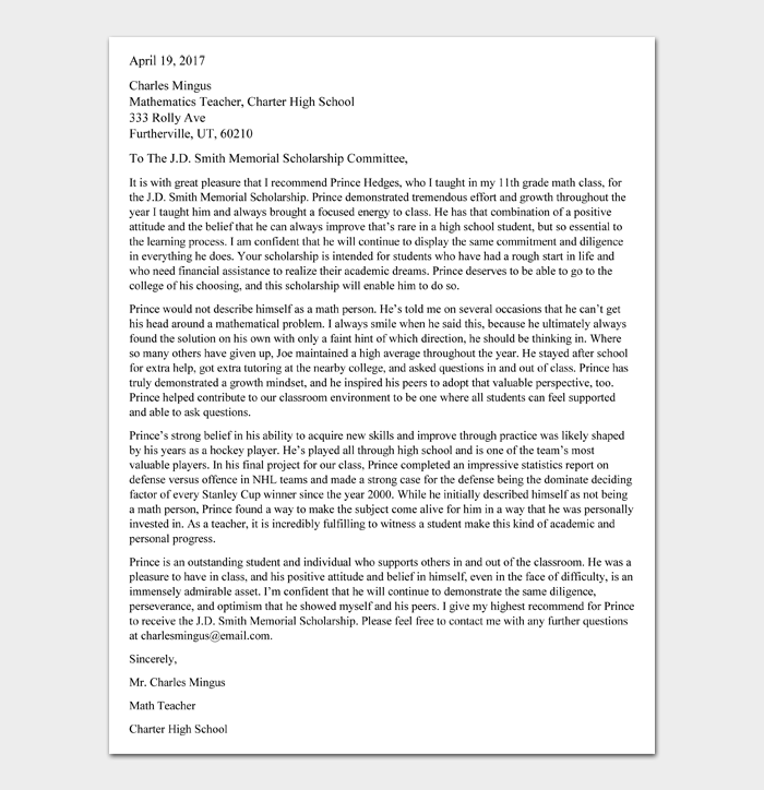Recommendation Letter for Scholarship Template #07