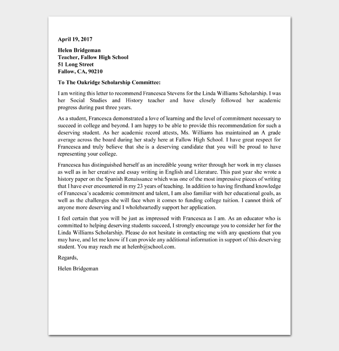 Recommendation Letter for Scholarship Template #08