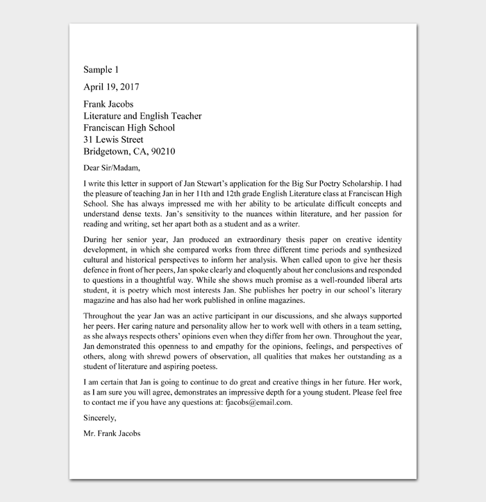 Recommendation Letter for Scholarship Template #09