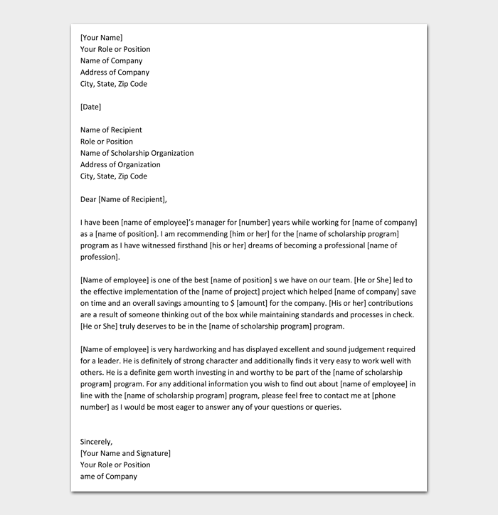 Recommendation Letter for Scholarship Template #10