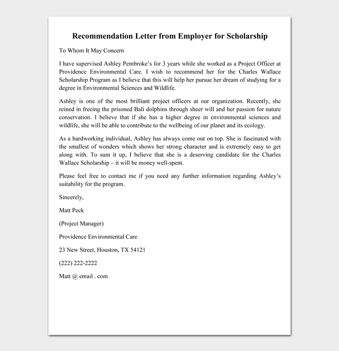 Recommendation Letter from Employer for Scholarship