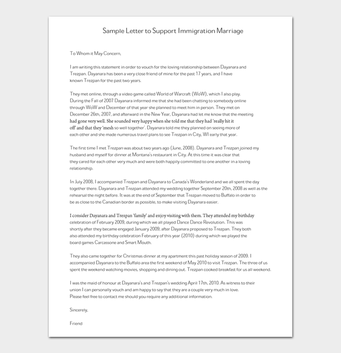 Reference Letter to Support Immigration Marriage #02