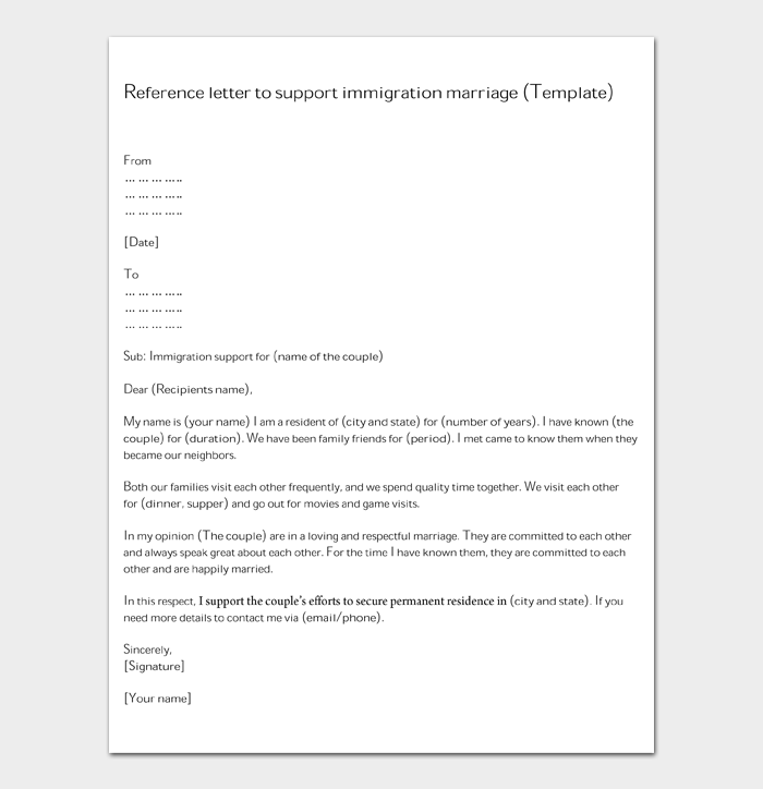 Reference letter to support immigration marriage (Template)