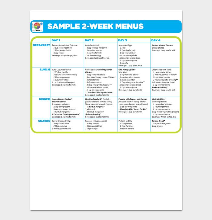 SAMPLE 2 WEEK MENUS