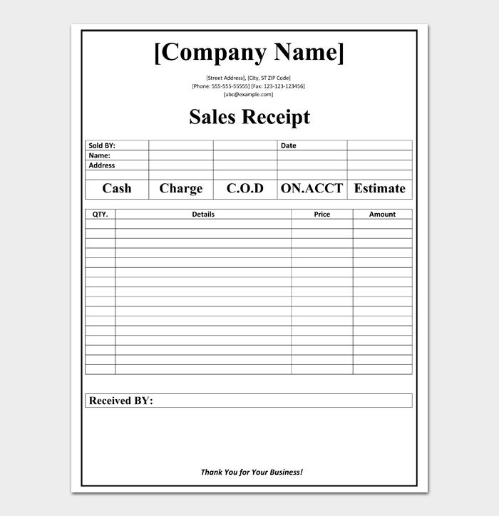 Sales Receipt Templates #01