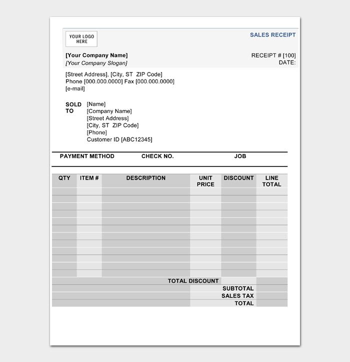 Sales Receipt Templates #06