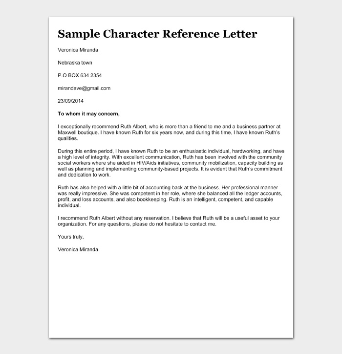 Sample 02 Character reference letter for court