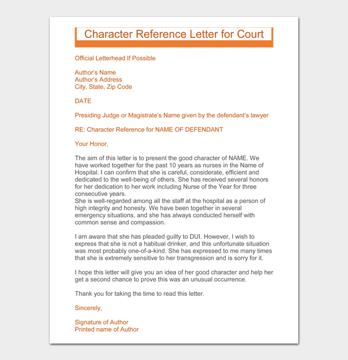 Sample 04 Character reference letter for court