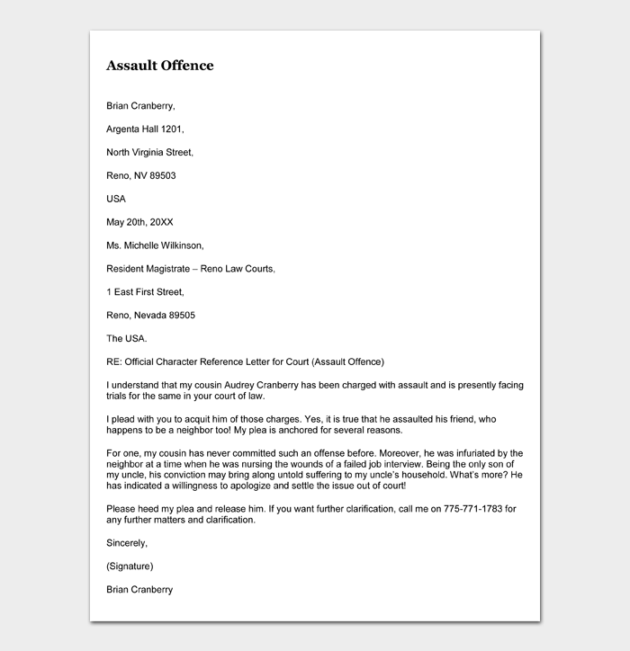 Sample 06 Character reference letter for court (Assault Offence)