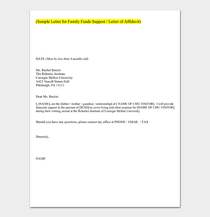 Sample Letter for Family Funds Support