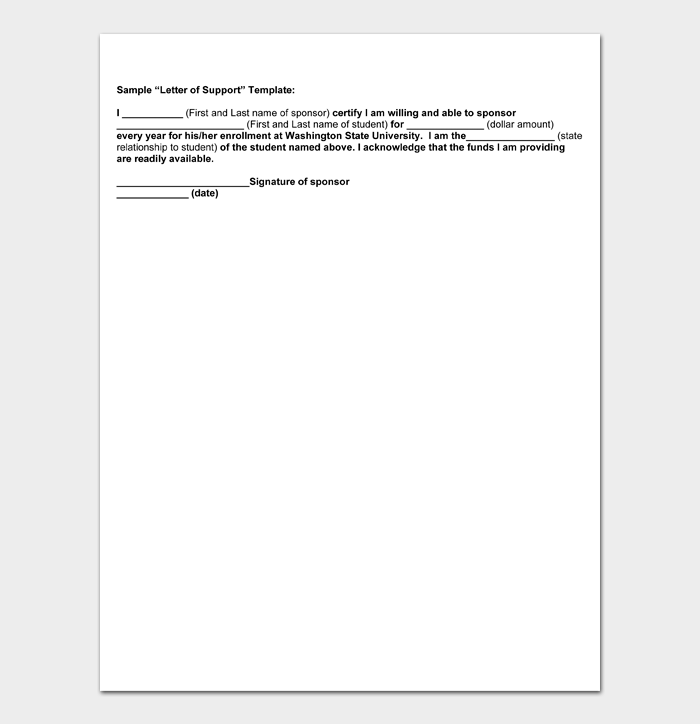 Sample Letter of Support Template