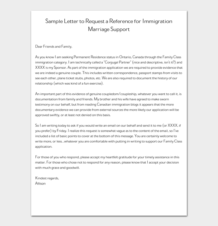 Sample Letter to Request a Reference for Immigration Marriage Support