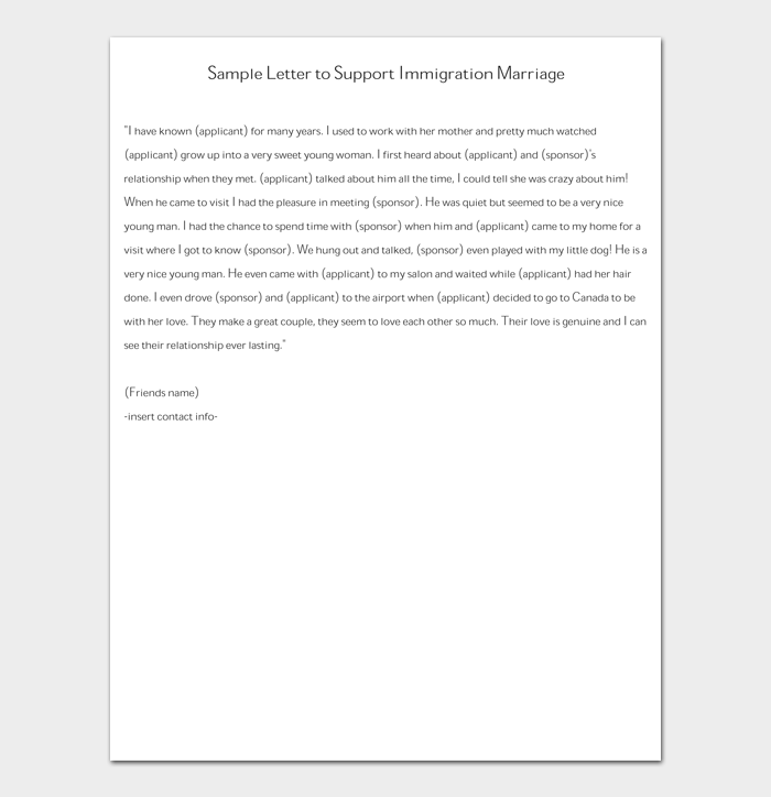 Sample Letter to Support Immigration Marriage