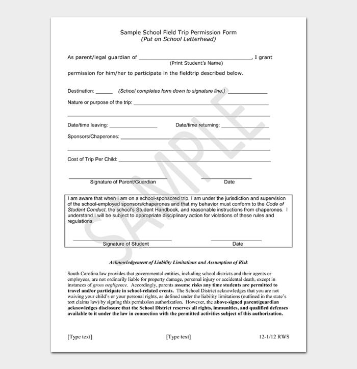Sample School Field Trip Permission Form