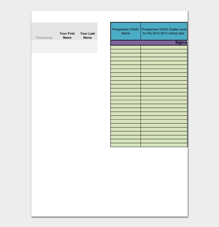 Sign up Sheet Template #01