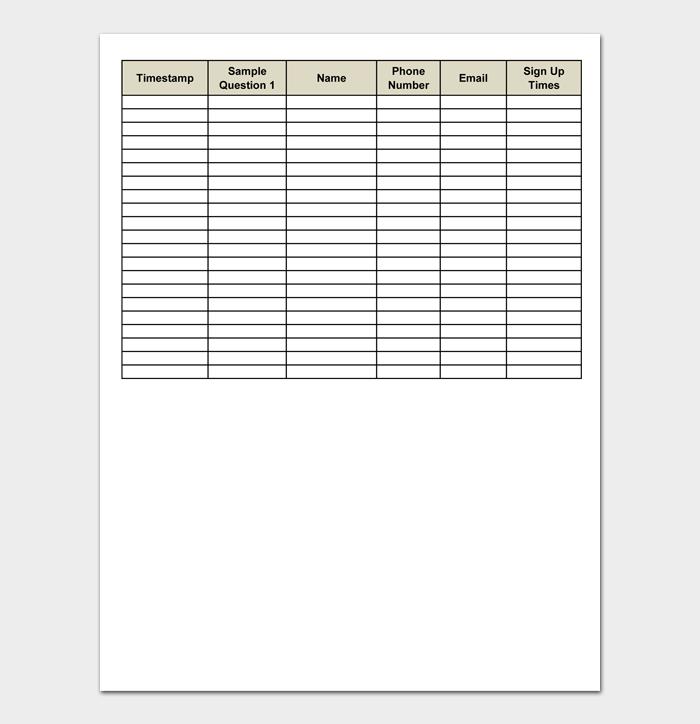Sign up Sheet Template #03