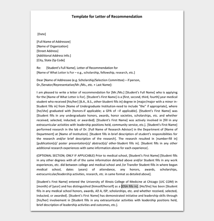 Template for Letter of Recommendation