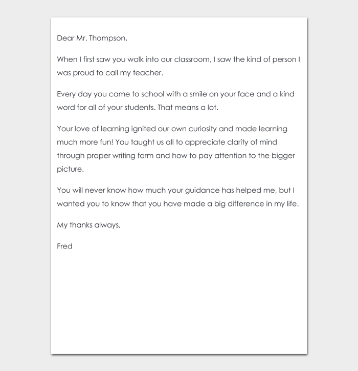 Thank You Note to Teacher #04